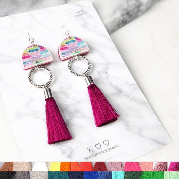 rainbow tassel earrings DANCER design NEXT ROMANCE jewellery australia