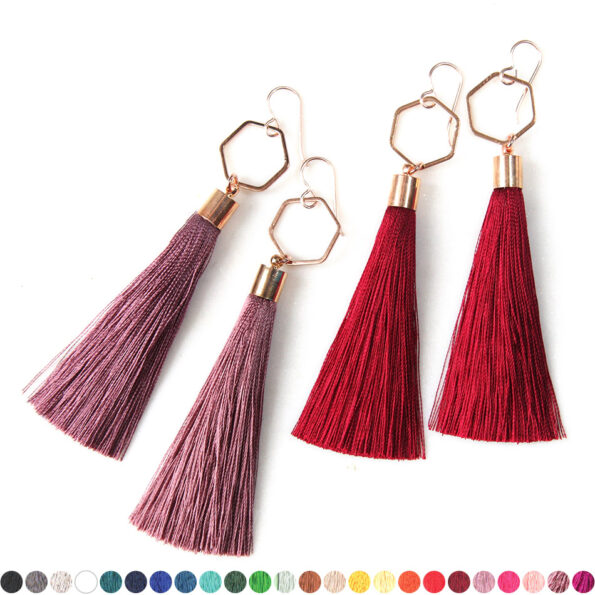 burgundy rose gold tassel earrings hexagon NEXT ROMANCE