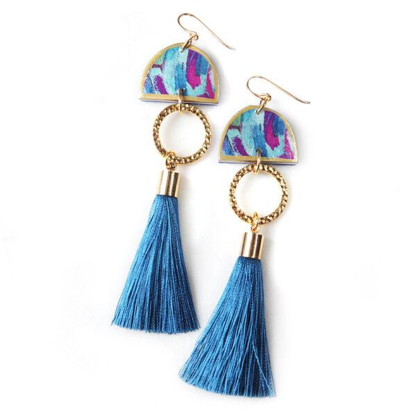 sky blue tassel art painted dancer earrings NEXT ROMANCE