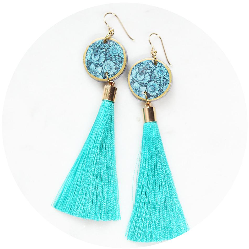FLORAL SILHOUETTE art tassel earring - NEW DESIGN - Unique art ...