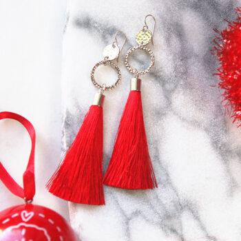 red tassel earrings twice double hammered silky soft unique earrings next romance jewellery australia