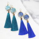 blue gold tassel earrings FLORAL silhouette art - NEW DESIGN.JPG