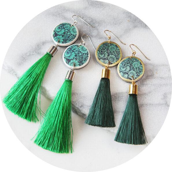 green tassel floral earrings silouhette new design NEXT ROMANCE jewellery melbourne sydney australia