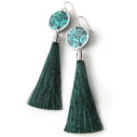 green floral silver silhouette tassel earrings NEXT ROMANCE