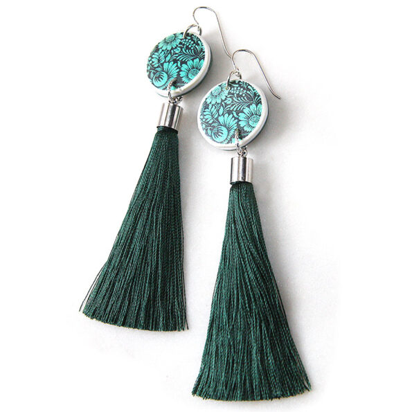 FLORAL SILHOUETTE art tassel earring – NEW DESIGN green