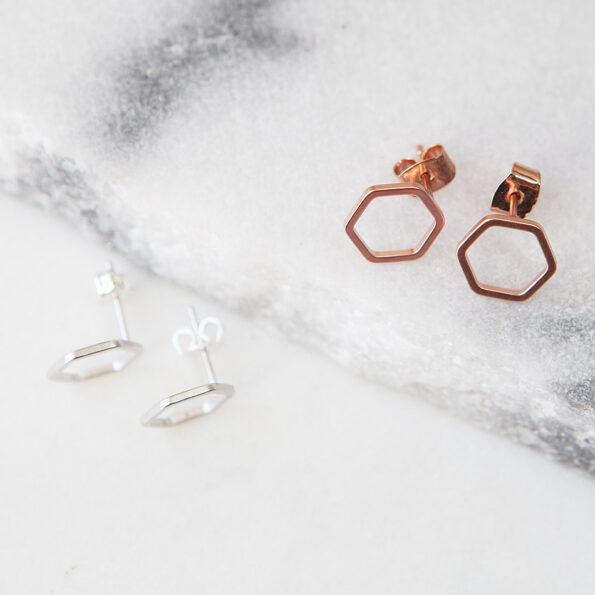 hexagon studs NEXT ROMANCE jewellery fine rose gold