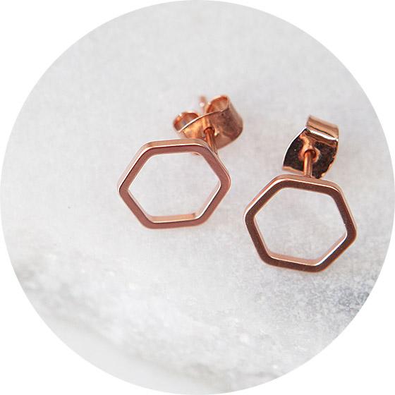 hexagon studs crop NEXT ROMANCE jewellery fine rose gold