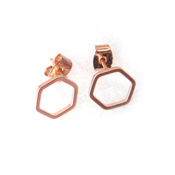 hexagon studs crop wt NEXT ROMANCE jewellery fine rose gold