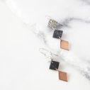 minimal modern next romance earrings black marble 3 tone drop dangles