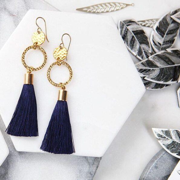 navy tassel earrings gold hammered coin hook NEXT ROMANCE jewellery australia
