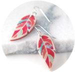 orange feather graphic art earrings