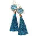 peacock blue tassel earrings FLORAL silhouette art - NEW DESIGN