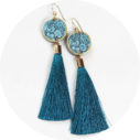 peacock blue tassel earrings FLORAL silhouette art - NEW DESIGN