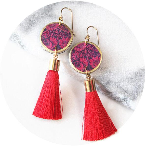 FLORAL SILHOUETTE art tassel earring – NEW DESIGN reds