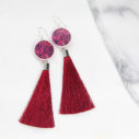 red tassel earrings FLORAL silhouette art - NEW DESIGN
