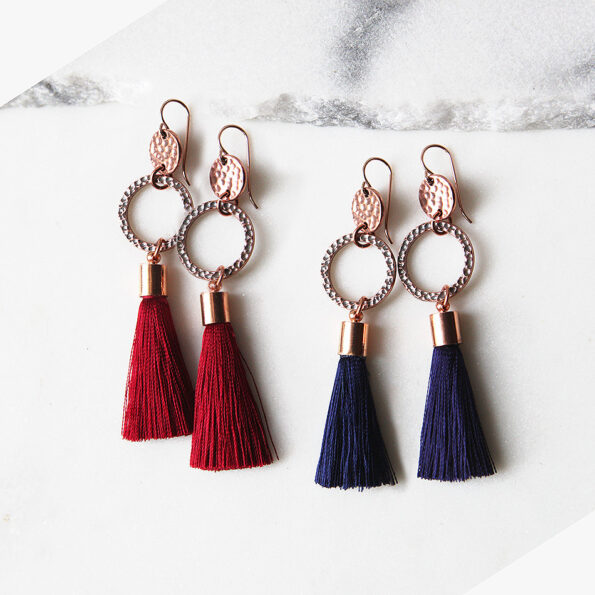 rose gold copper hammered coin tassel earrings