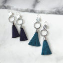 silver 2 coin hammered tassel earrings INGRID next romance jewellery