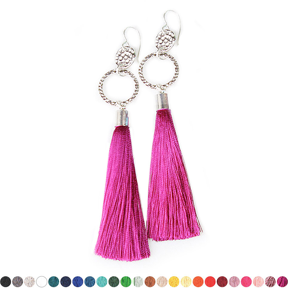 35efd5c6097 – Twice Hammered TASSEL earrings SILVER – choose tassel colour