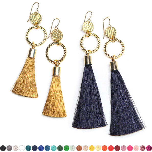 – Twice hammered TASSEL earrings GOLD – choose tassel colour
