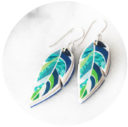 unique earrings feather leaf navy green crop next romance jewellery