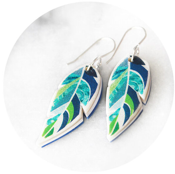 GRAPHIC ART FEATHER earrings – Green Navy