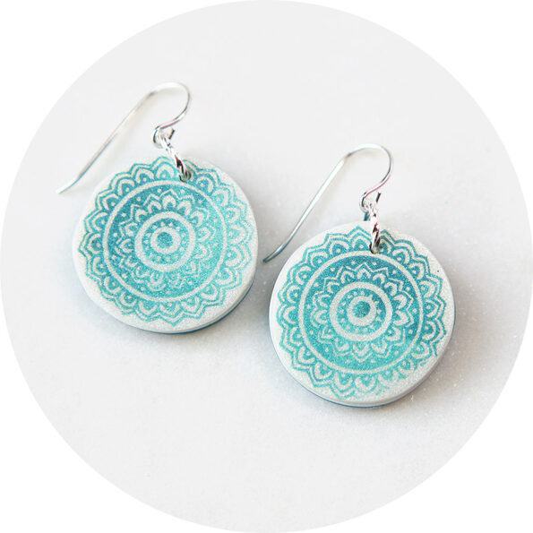 MANDALA colour gradient art earrings – green pale