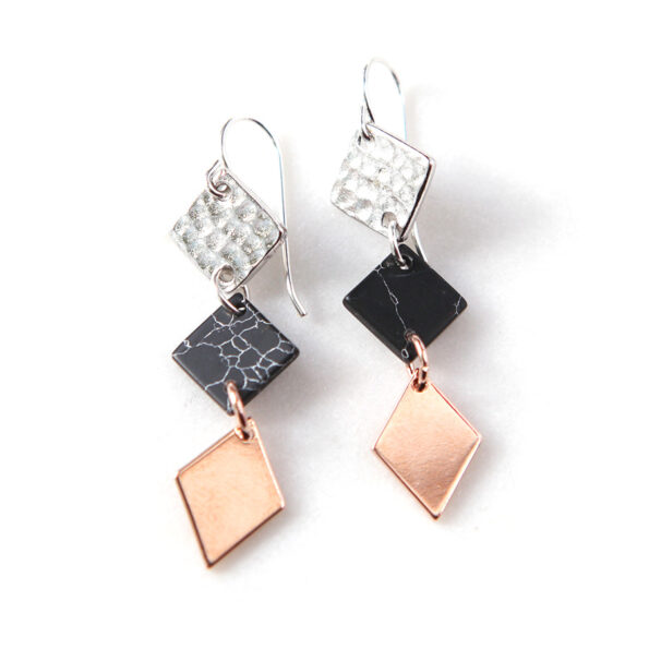 3 TONE black marble geometric earrings – choose gold – BACK IN STOCK