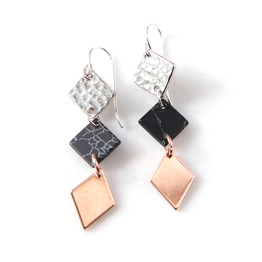 geometric olizz rectangular long gold square earrings