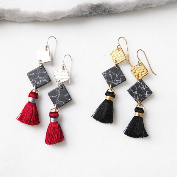 3 black gold marble tassel hammered square dangle earrings next romance jewelery red