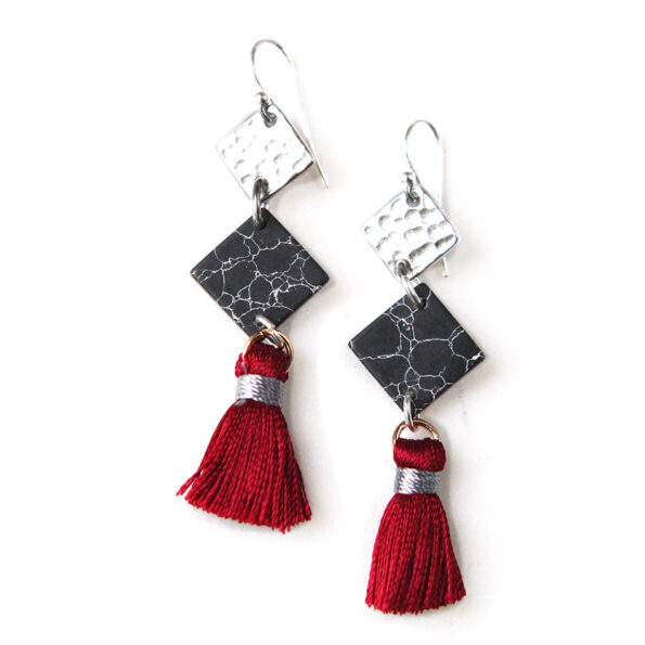3 tier MARBLE geometric tassel earrings – burgundy silver