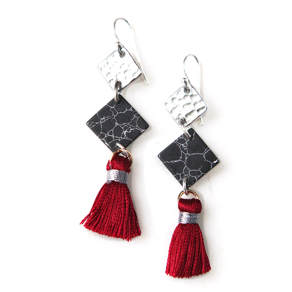 3 tier marble geometric tassel earrings burgundy silver unique