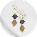 3 tier gold diamond modern classic earrings stylish long marble NEXT ROMANCE jewels