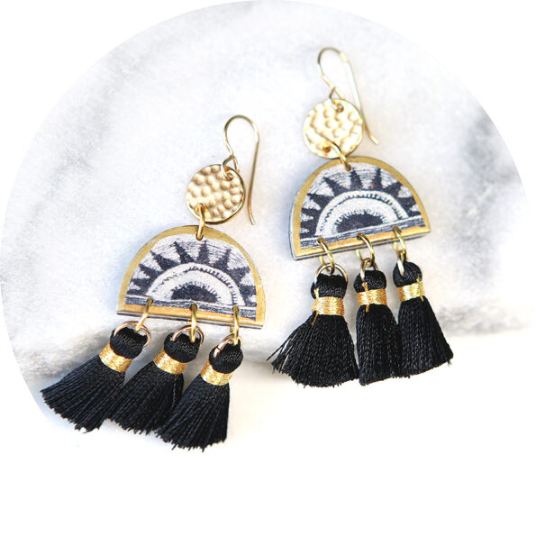 Black SUNRISE triple tassel ART earrings * FAVE