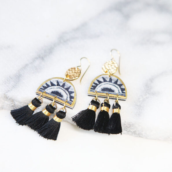 Dancing Sunrise black and gold tassel art earrings mini swingers NEXT ROMANCE unique jewelry