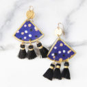 Devoi polka mini tassel art earrings NAVY next romance x devoi