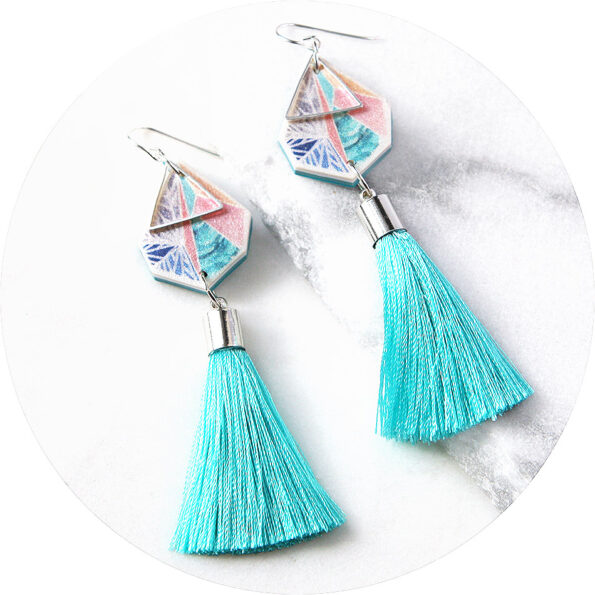 TRIANGLE ART earrings with teal tassel – snowflake sunset