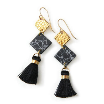 3 black gold marble tassel hammered square dangle earrings next romance jewelery