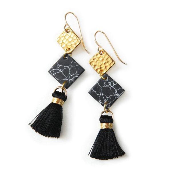 3 tier MARBLE geometric tassel earrings – black gold