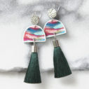 IN THE WOODS green moon dancer tassel earrings.JPG
