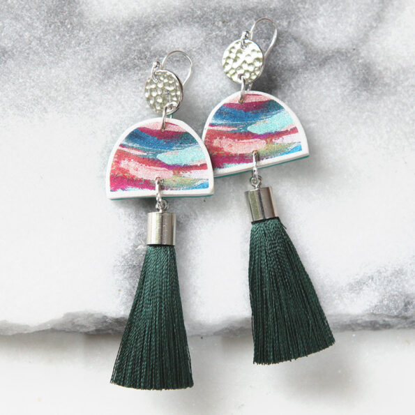 MOON DANCER painted tassel ART earrings – Next Romance