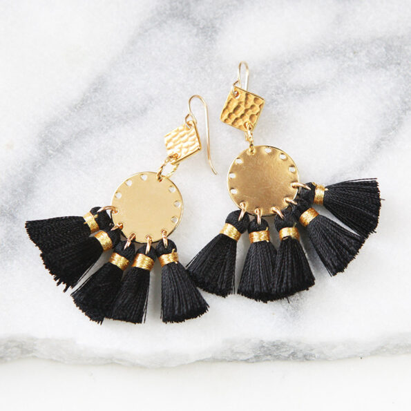 FIVE AND DIME black and gold coin funky tassel earrings
