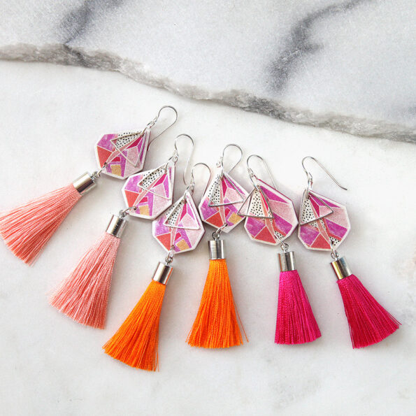 devoi traingle tassel art earrings 3 colours options NEXT ROMANCE jewellery fashion