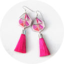 devoi x next romance tassel earrings pink triangle art unique melbourne fashion designer