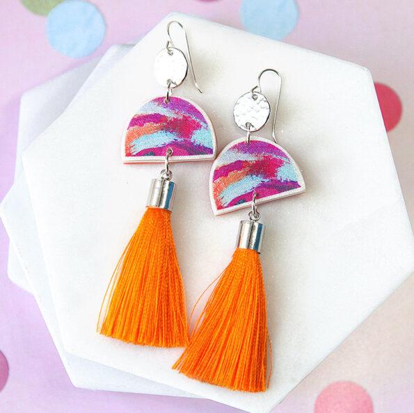 painter MOON DANCE unique coin tassel ART earrings – magenta – choose tassel colour
