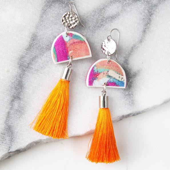 orange cha cha painter tassel art earrings NEXT ROMANCE unique jewellery australia