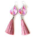 pink musk devoi tassel earrings triangle art NEXT ROMANCE jewellery