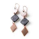 rose gold 3 tier earrings WT dangley NEXT ROMANCE australian jewellery design