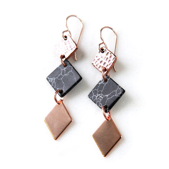 3 TIER marble square geometric earrings – silver, rose gold or gold