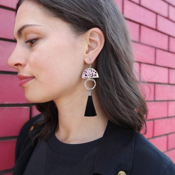 DANCING SILVER ink dot Tassel ART Earrings - Black Gold - Limitless Boho Luxe SHORT - Next Romance Melbourne Julz