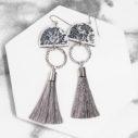 floral silouhette moon art tassel dancer earrings NEXT ROMANCE JEWELLERY